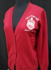 Delta Sigma Theta Sorority Button Up Cardigan- Red