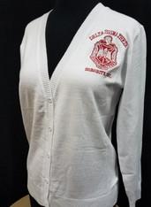 Delta Sigma Theta Sorority Button Up Cardigan- White