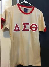 Delta Sigma Theta Sorority Ringer T-shirt-Khaki