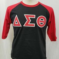 Delta Sigma Theta Sorority Baseball Shirt-Black/Red