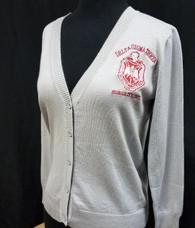 Delta Sigma Theta Sorority Button Up Cardigan- Silver