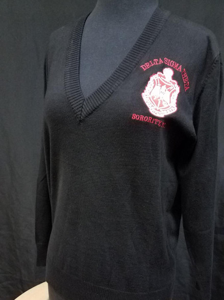 Delta Sigma Theta Sorority Pull Over Cardigan- Black