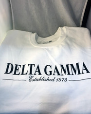 Delta Gamma Sorority Crewneck Sweatshirt- White