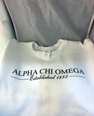 Alpha Chi Omega Sorority Crewneck Sweatshirt- White