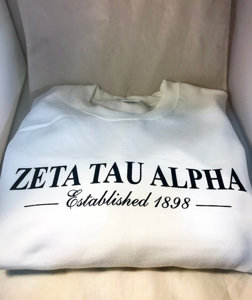 Zeta Tau Alpha ZTA Sorority Crewneck Sweatshirt- White