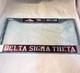 Delta Sigma Theta Sorority Three Greek Letter License Plate Frame- Crimson/Silver