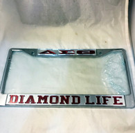 Delta Sigma Theta Sorority Diamond Life License Plate Frame-Silver/Crimson