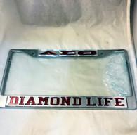 Delta Sigma Theta Sorority Diamond Life License Plate Frame-Silver/Crimson