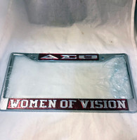 Delta Sigma Theta Sorority Women of Vision License Plate Frame-Crimson/Silver