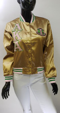 Alpha Kappa Alpha AKA Sorority Satin Jacket- Khaki