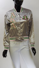 Alpha Kappa Alpha AKA Sorority Satin Jacket- Silver