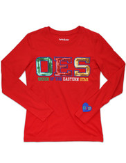 Order of the Eastern Star OES Long Sleeve Shirt- Red- Sequin Letters