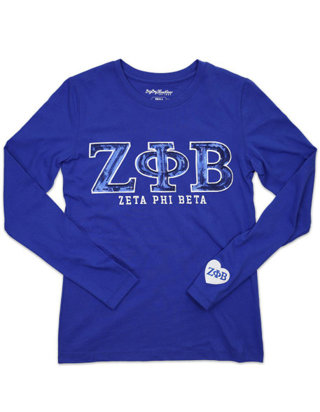 Zeta Phi Beta Sorority Long Sleeve Shirt- Blue- Sequin Letters