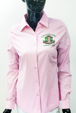 Alpha Kappa Alpha AKA Sorority Button Down Collar Shirt- Pink