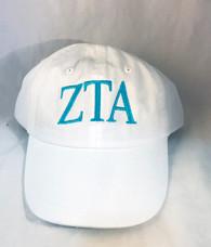 Zeta Tau Alpha ZTA Sorority Hat- White