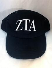 Zeta Tau Alpha ZTA Sorority Hat- Black