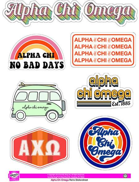 Alpha Chi Omega Sorority Stickers- Retro