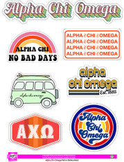 Alpha Chi Omega Sorority Stickers- Retro