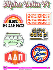 Alpha Delta Pi ADPI Sorority Stickers- Retro