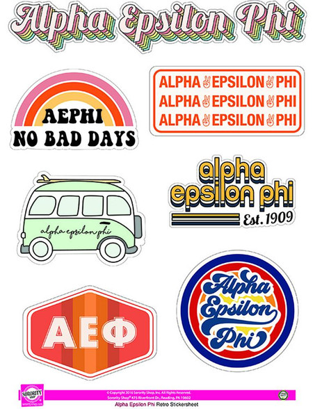 Alpha Epsilon Phi AEPHI Sorority Stickers- Retro
