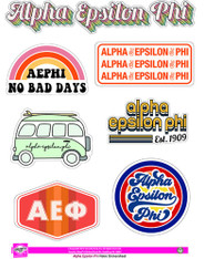 Alpha Epsilon Phi AEPHI Sorority Stickers- Retro