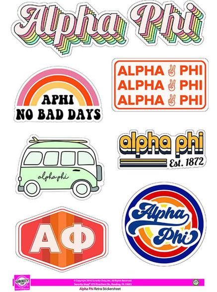 Alpha Phi Sorority Stickers- Retro