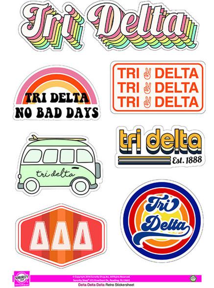 Delta Delta Delta Tri-Delta Sorority Stickers- Retro