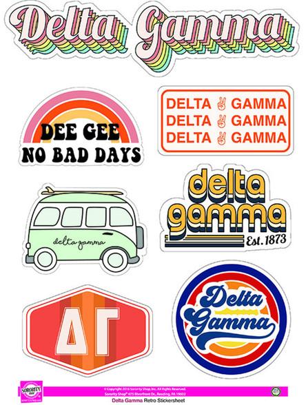 Delta Gamma Sorority Stickers- Retro