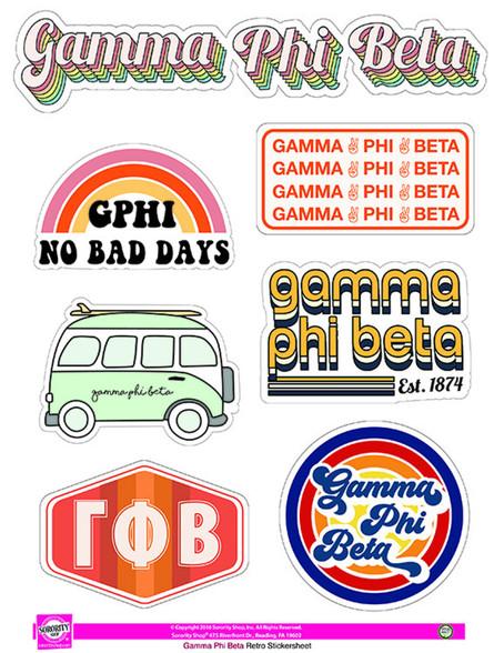 Gamma Phi Beta Sorority Stickers- Retro