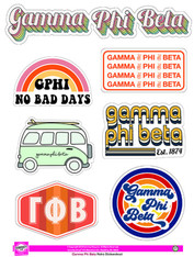 Gamma Phi Beta Sorority Stickers- Retro