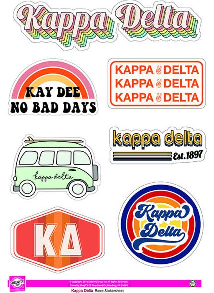Kappa Delta Sorority Stickers- Retro