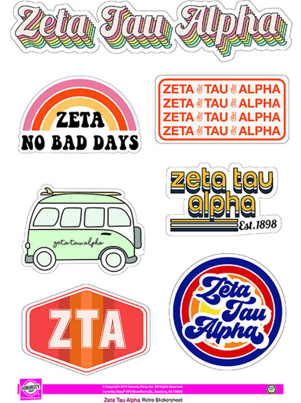 Zeta Tau Alpha ZTA Sorority Stickers- Retro