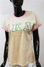 Alpha Kappa Alpha AKA Sorority Ringer T-shirt-Khaki