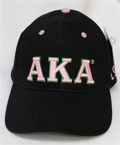 Alpha Kappa Alpha AKA Sorority Three Greek Letter Baseball Hat- Black