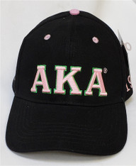Alpha Kappa Alpha AKA Sorority Three Greek Letter Baseball Hat- Black