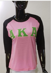 Alpha Kappa Alpha AKA Sorority Baseball Shirt-Pink/Black