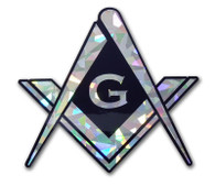 Mason Masonic Square and Compass Reflective Decal