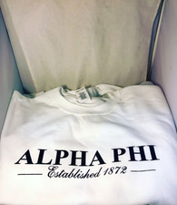 Alpha Phi Sorority Crewneck Sweatshirt- White