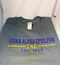 Sigma Alpha Epsilon SAE Fraternity T-Shirt- Gray