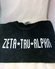 Zeta Tau Alpha ZTA Sorority Mineral Wash Shirt- Black