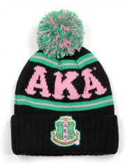 Alpha Kappa Alpha Sorority Pom Beanie- Crest- Black/Pink-Front