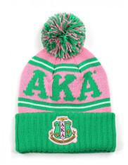 Alpha Kappa Alpha Sorority Pom Beanie- Crest- Pink/Green- Front