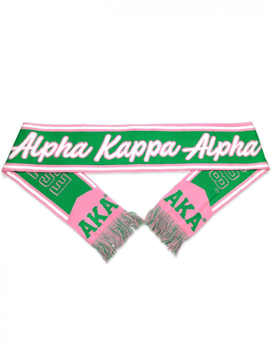 Alpha Kappa Alpha Sorority Pink Green Ivy Long Scarf