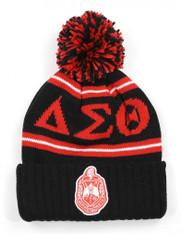 Delta Sigma Theta Sorority Pom Beanie- Crest- Black/Red-Front