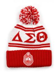 Delta Sigma Theta Sorority Pom Beanie- Crest- White/Red-Front