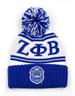 Zeta Phi Beta Sorority Pom Beanie- Crest- White/Blue