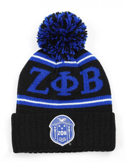 Zeta Phi Beta Sorority Pom Beanie- Crest- Black/Blue