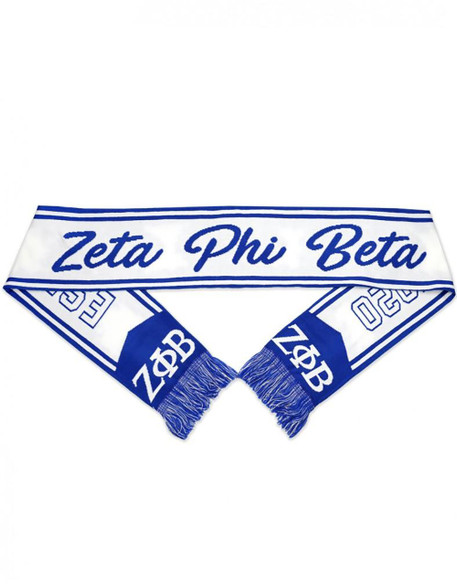 Zeta Phi Beta Sorority Scarf-White/Blue