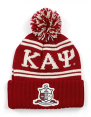 Kappa Alpha Psi Fraternity Pom Beanie- Crest- Crimson/Cream- Front