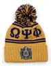 Omega Psi Phi Fraternity Pom Beanie- Crest- Gold/Purple-Front